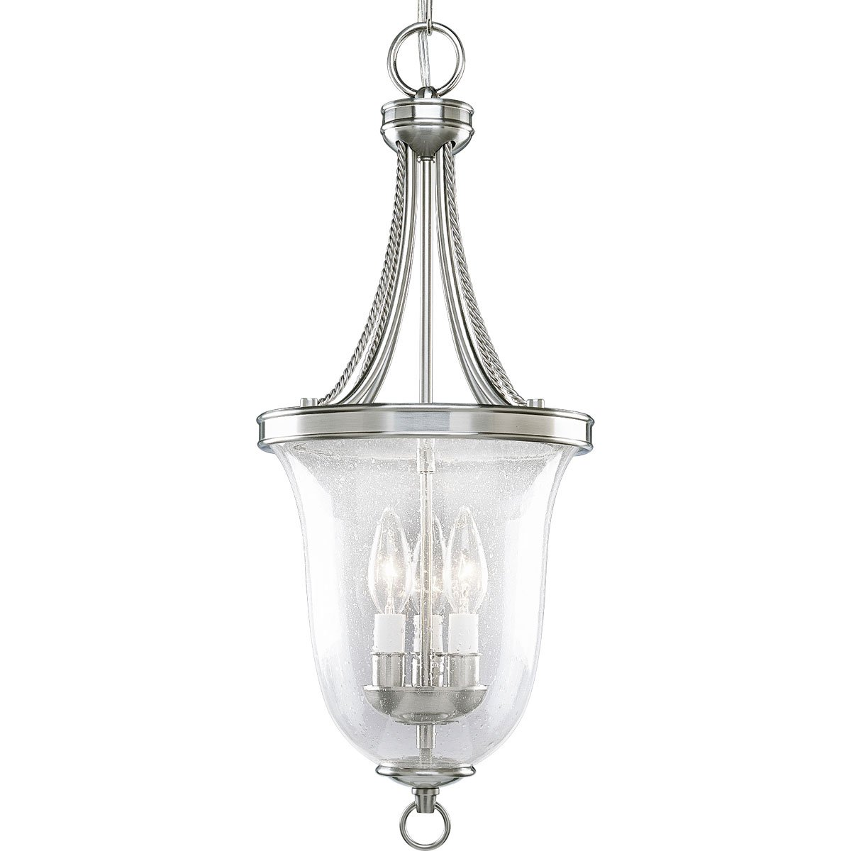 Progress Lighting P3753-09 3-Light Foyer Pendant with Clear Seeded Glass, Brushed Nickel
