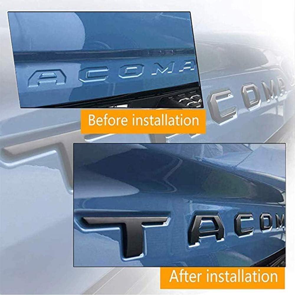 Black Tailgate Letters Fit Tacoma 2016 2017 2018 2019 2020 3D Raised Black Letters Zinc Alloy Emblem Inserts