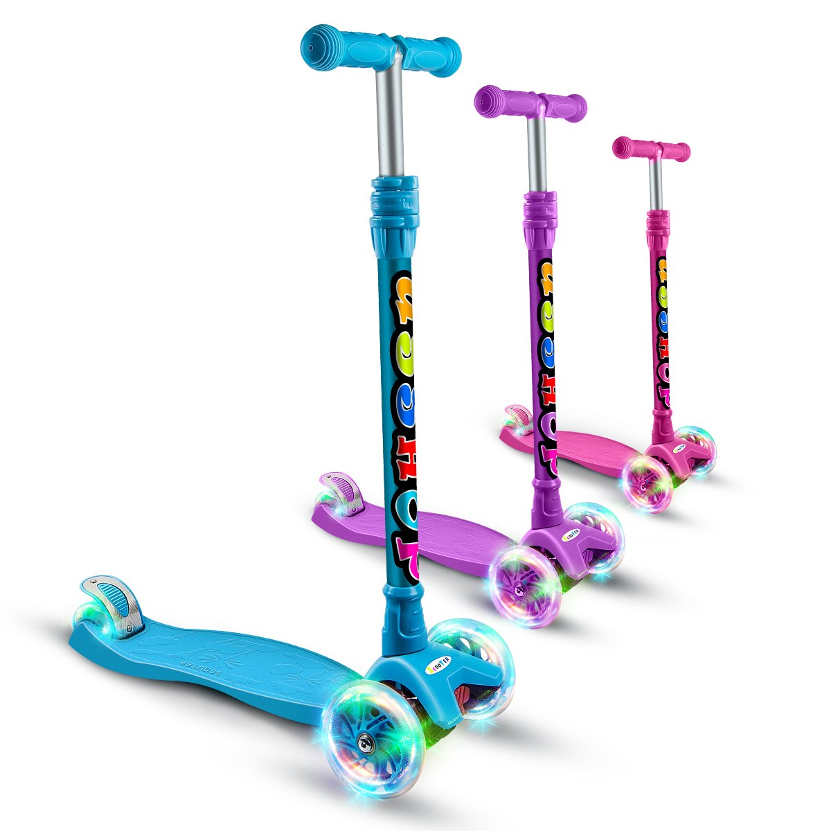 OUTON Kick Scooter For Kids 3 Wheel Scooter Lean To Steer 4 Adjustable Height Glider Ride On PU Flashing Wheels for Children 3-12 Year Old All Parts 10 Years Warranty Blue