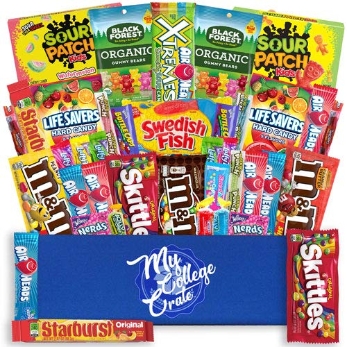 CDM product My College Crate Candy & Snack Box Ultimate Snack Care Package for College Students - 40 piece Includes 20 Full Size Candies, Candy Variety Pack, Starburst, Skittles, Sour Patch & More big image