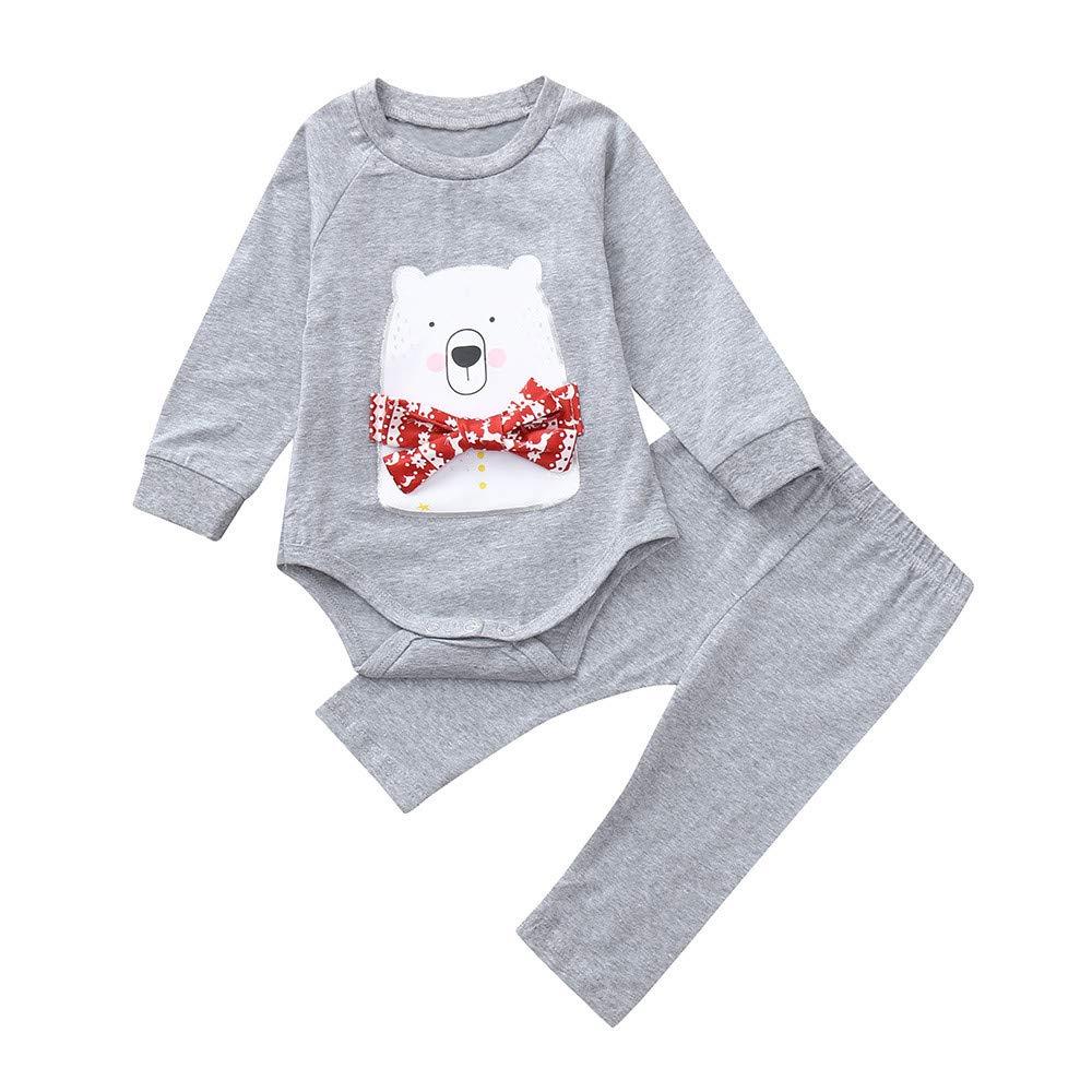 beautyjourney Bebé Bodysuit, Mameluco de Manga Larga de Oso de Dibujos Animados niña niño recién Nacido Pijama de Mono Pantalones Conjunto de Conjuntos de Dos Piezas