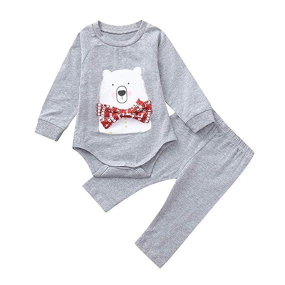 beautyjourney Bebé Bodysuit, Mameluco de Manga Larga de Oso de Dibujos Animados niña niño recién Nacido Pijama de Mono Pantalones Conjunto de Conjuntos de ...