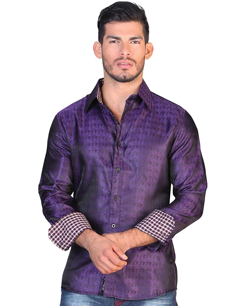 Camisa Casual Shirt L//Sleeve El General 100/% Polyester ID 122295 CS7 Purple