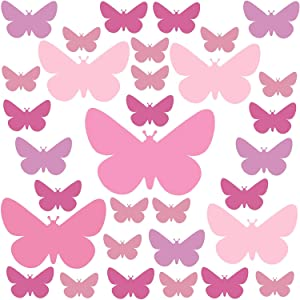 Set of 32 Butterfly Wall Stickers Kids - Nursery Decor Easy to Apply - Decals for Bedrooms for Girls Pastel Rose (Pastel Rose 32pcs)