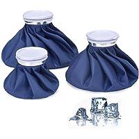 Vianber Bolsa de hielo reutilizable de 3 paquetes, Bolsa de hielo portátil para lesiones de primeros auxilios, rellenables con agua para terapia de frío y calor Lesiones deportivas y alivio del dolor Cómodo Touch 3 Tamaño Azul