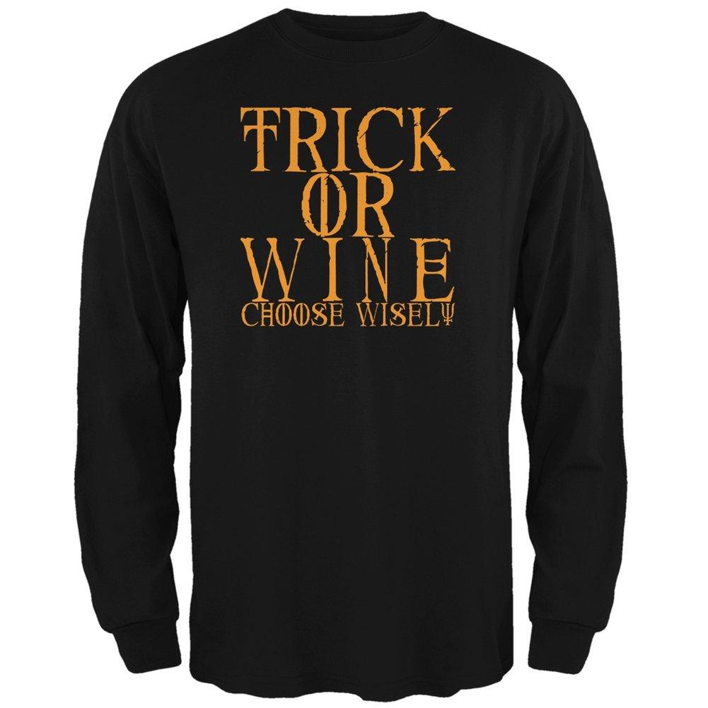 4917ce9e0 Amazon.com: Halloween Trick Wine Black Adult Long Sleeve T-Shirt: Clothing