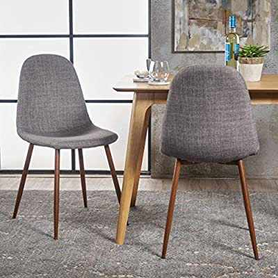"Christopher Knight Home Raina Mid-Century Modern Fabric Dining Chairs with Wood Finished Metal Legs, 2-Pcs Set, Light Grey / Dark Brown - ""Includes: two (2) chairs material: fabric composition: 100% polyester Leg material: metal with wood Finish color: light grey Leg Finish: dark brown assembly required Hand crafted details dimensions: 20.75 inches deep x 17.50 inches wide x 34.50 inches high Seat width: 17.50 inches Seat Depth: 15.60 inches Seat Height: 19.00 inches"" - kitchen-dining-room-furniture, kitchen-dining-room, kitchen-dining-room-chairs - 616Vp9KOBwL. SS400  -"