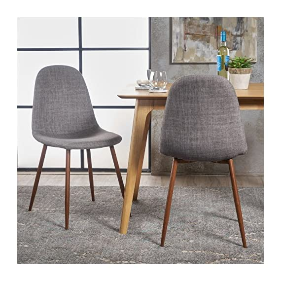 """Christopher Knight Home Raina Mid-Century Modern Fabric Dining Chairs with Wood Finished Metal Legs, 2-Pcs Set, Light Grey / Dark Brown - """"Includes: two (2) chairs material: fabric composition: 100% polyester Leg material: metal with wood Finish color: light grey Leg Finish: dark brown assembly required Hand crafted details dimensions: 20.75 inches deep x 17.50 inches wide x 34.50 inches high Seat width: 17.50 inches Seat Depth: 15.60 inches Seat Height: 19.00 inches"""" - kitchen-dining-room-furniture, kitchen-dining-room, kitchen-dining-room-chairs - 616Vp9KOBwL. SS570  -"""