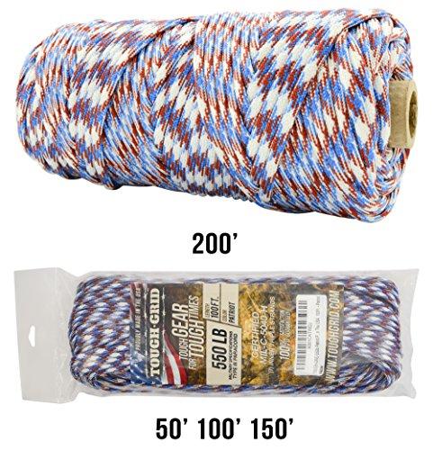 TOUGH-GRID 550lb Paracord/Parachute Cord - 100% Nylon Genuine