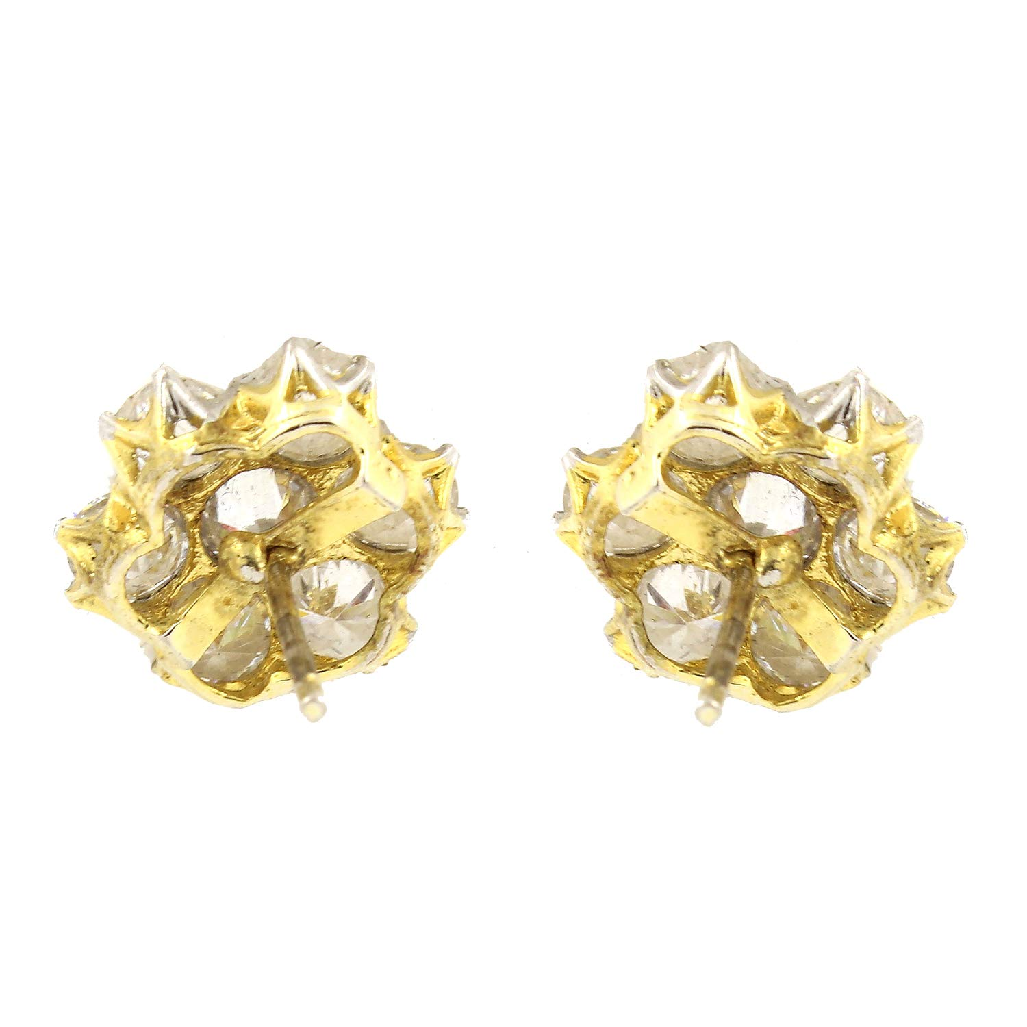 Be You Elegant White Color Cubic Zirconia Diamond Look Gold Plated Flower Shape Stud Earrings for Women