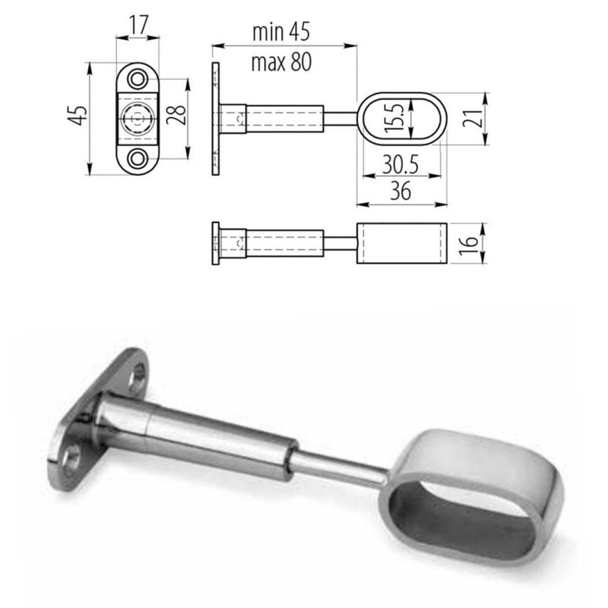 Armario de barra ovalada con tubo de metal pulido para colgar organizador de armario de corte a tama/ño MKGT/® soportes de extremo y tornillos