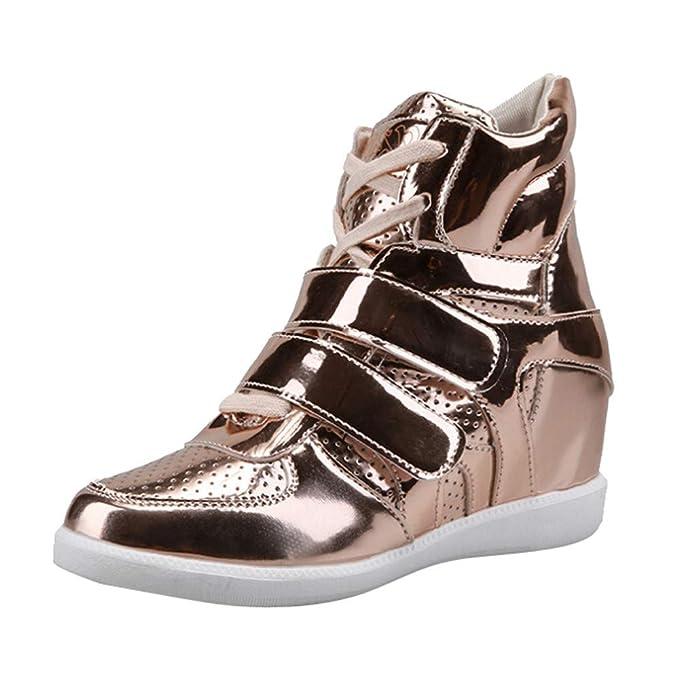 Zapatillas BaZhaHei Botas Altas de Charol de Piel para Mujer del Zapatos de Punta Redonda para Mujer Botas Cruzadas Botas de Charol de tacón Alto cómodo y ...