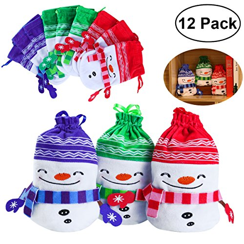 Holiday Drawstring Goody Bags - 12PCS Christmas Drawstring Gift Bags for Holiday Party Favors and Decorations, Treats, Christmas Draw String Candy Goodie Bags, 3 Colors, Snowman Design