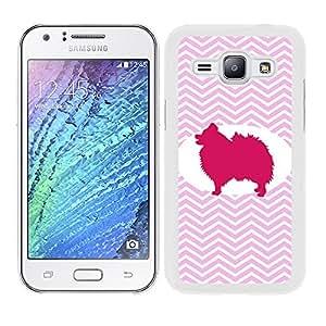 Carcasa rígida para Samsung Galaxy J1Pomerania perro patrón de Zigzag zig-zag diseño lado blanco