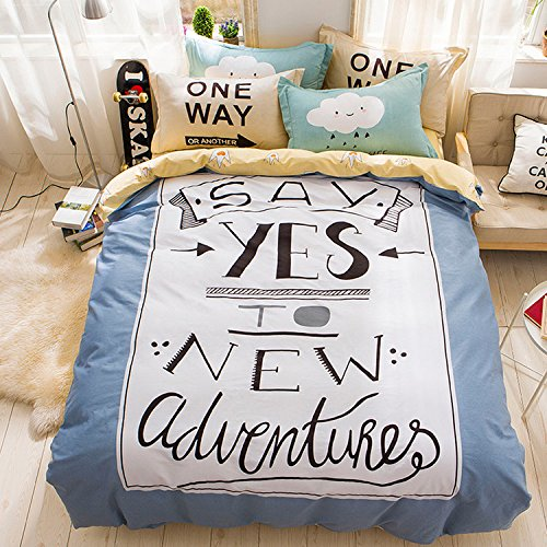 WarmGo Home Textile Bedding Sets for Adult Kids Say Yes Design Duvet Cover Sets 4 Piece (Include 2 Pillowcase) Full/Queen Size without Comforter by WarmGo