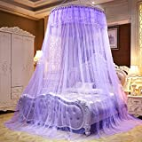Per Enlarge Princess Dome Netting Curtains With Short Tassels Hanging Canopy Play Tent Mosquito Net For Bedroom Height 280cm/110.23in,Dome Diameter 100 cm/39.37in-Purple