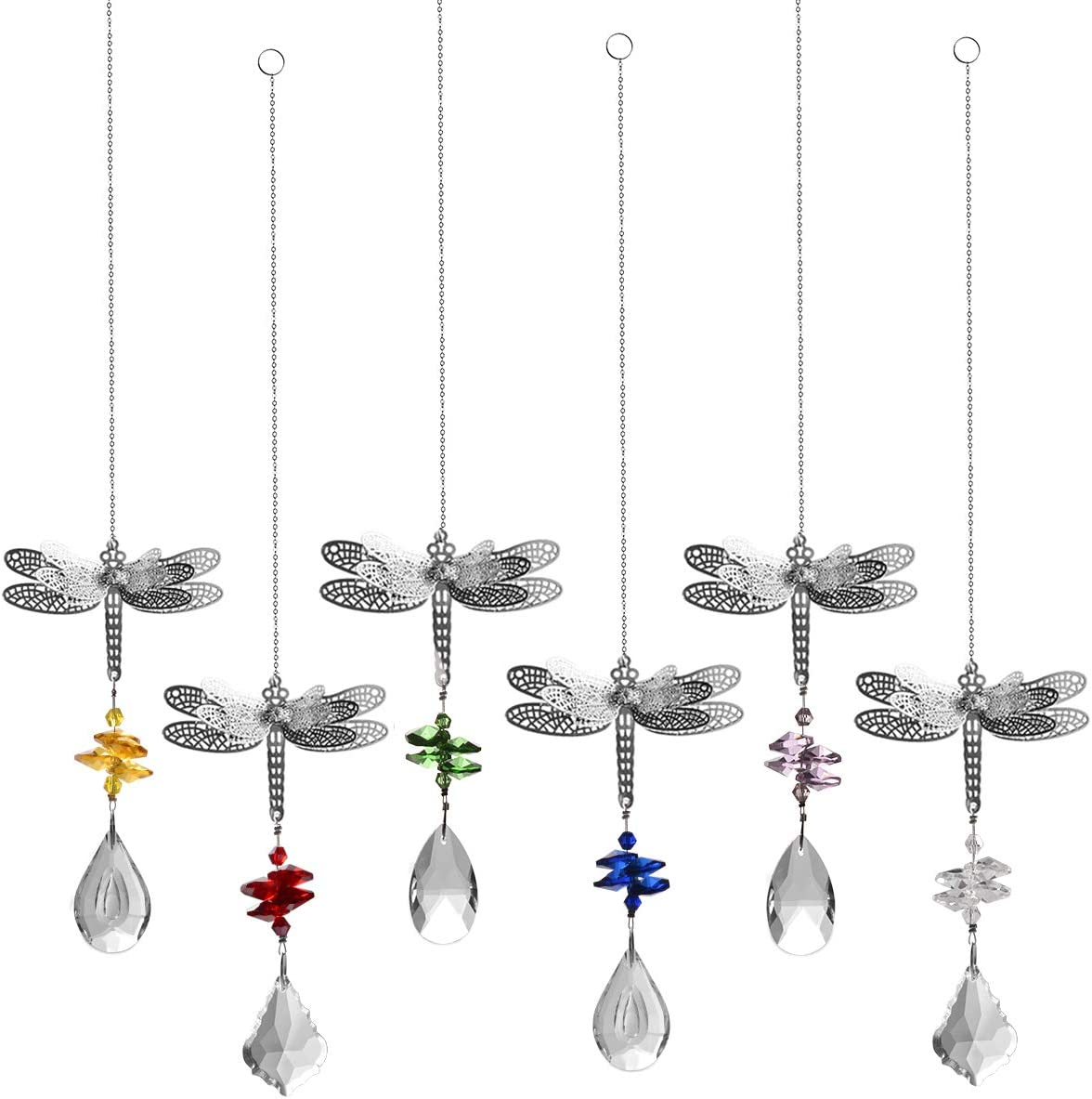 LONGSHENG Dragonfly Crystal Suncatcher Prisms Bead Hanging Crystal for Windows Prisms Suncatcher Garden Wedding Christams Decor Rainbow Maker Mirror Suncatcher,Set of 6