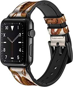CA0445 Vintage Octopus Leather & Silicone Smart Watch Band Strap for Apple Watch iWatch Size 38mm/40mm
