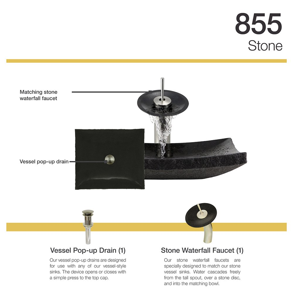 855 Shanxi Black Granite Vessel Sink Brushed Nickel Bathroom ...