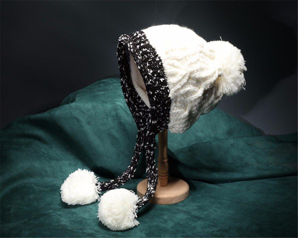 Womens encantador arrastrero elegante invierno esquí Skullies tejidas Beanie Hat,Blanca,56-58cm.
