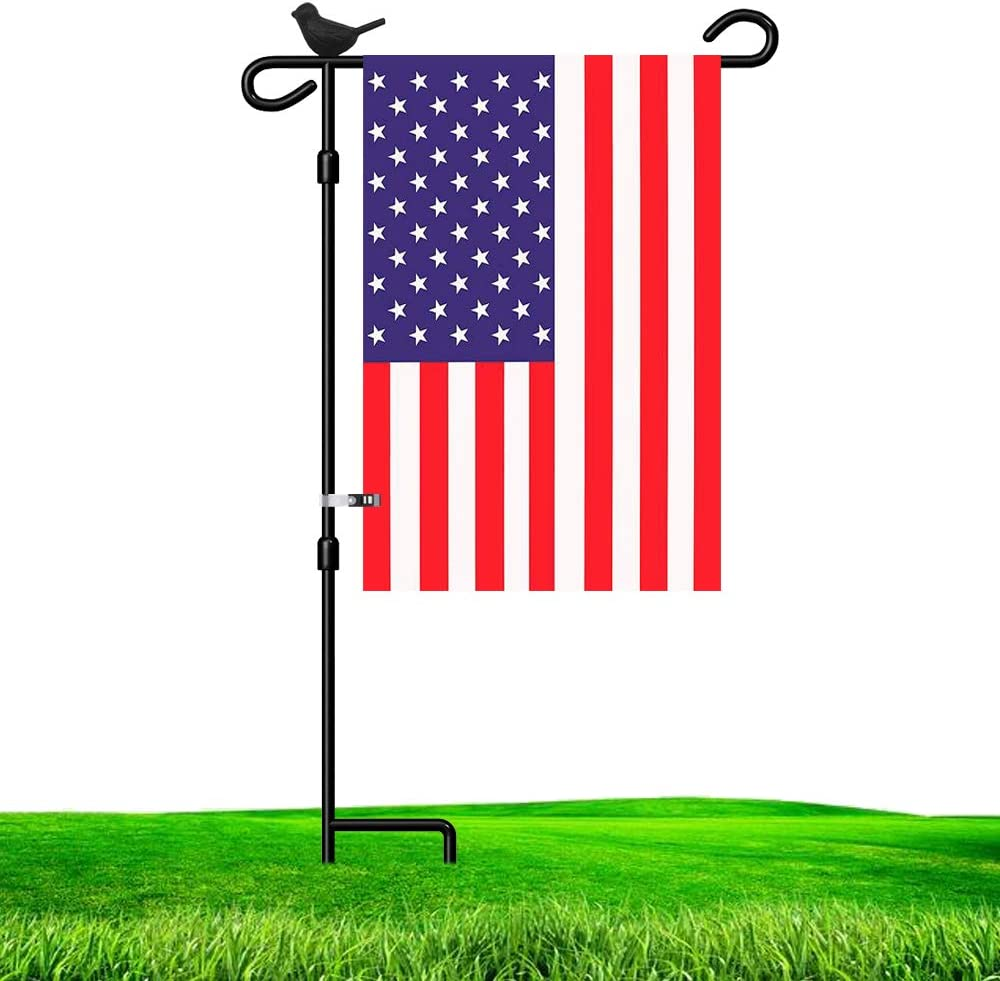 LAIRIES Bird Garden Flag Stand Holder Pole with Garden Flag Stopper and Anti-Wind Clip 37''H x 17''W Black Wrought Iron Yard Garden Season Flag Pole Outdoor