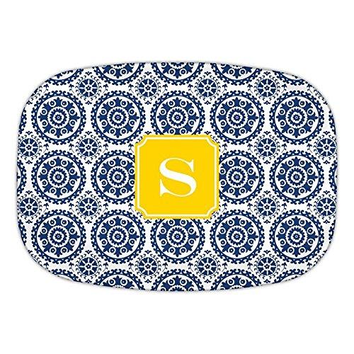 Boatman Geller Suzani Melamine Platter with Single Initial, K, Multicolored