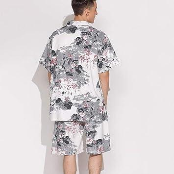 Pajamas Traje de Pijama, algodón con Bolsillos Albornoz, algodón con Cuello en v y Lino