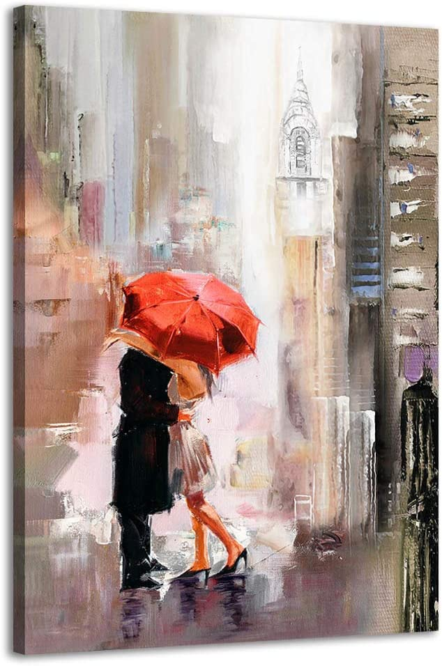 Modern Romantic Canvas Prints Wall Art New York Cityscape Painting Pictures Lovers with Red Umbrella for Bedroom Living Room Wall Decorations 24x36inx1