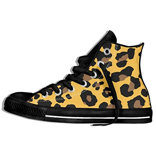 a1615454930 Unisex Hi-Top Sneakers Shoes Leopard Skin Pattern Round Toe Non-slip Canvas  Casual