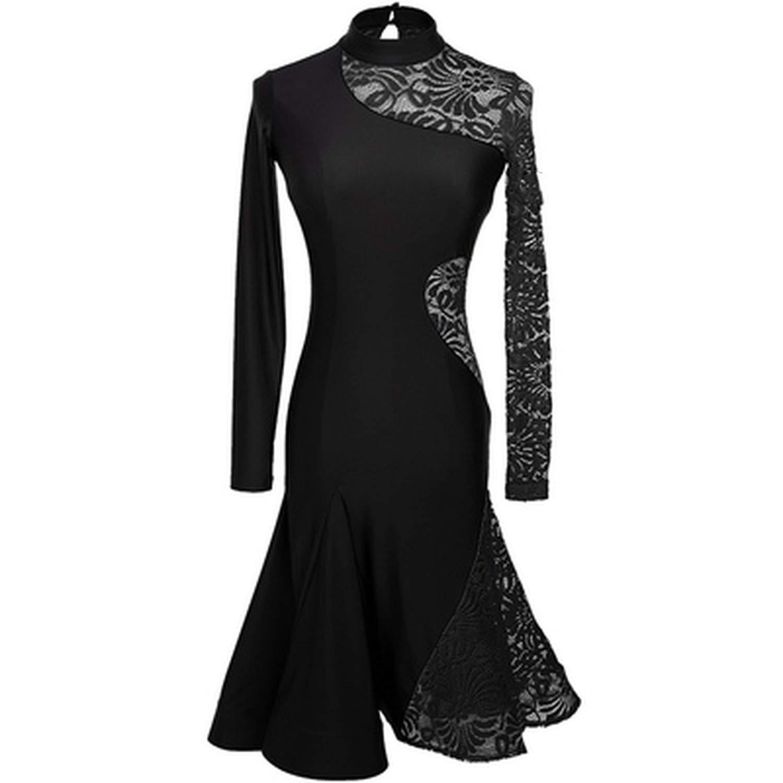 Latin Dance Dresses Long Sleeve Salsa Tango Dance Wears Women Modern Ballroom Dresses,Black,L by Colourful Day Dance Dress