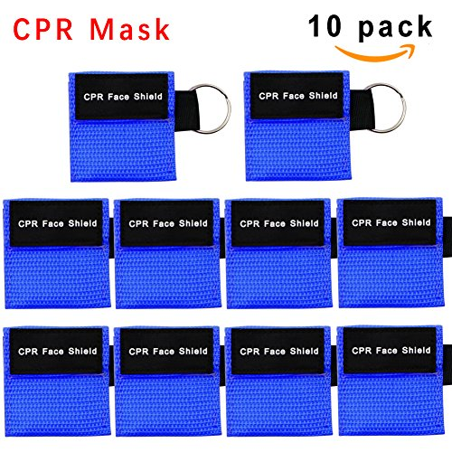 Barrier Keychain (CPR Mask, One-way Valve Emergency Face Shields Rescue Baby and Adult Cpr Pocket Mask for First Aid, Cpr Mask Keychain, Lanting(10 Packs,Blue))