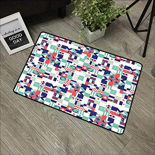 pad W19 x L31 INCH Mid Century,Rich Contemporary Mosaic of Funky and Pastel Shapes,Mint Green Dark Purple Dark Coral with Non-Slip Backing Door Mat Carpet ()