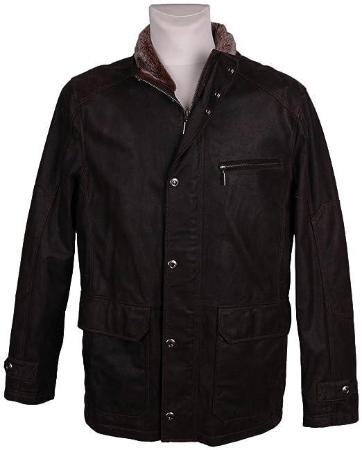 HM Hombre Chaqueta De Piel, Model:, color: marrón oscuro ...