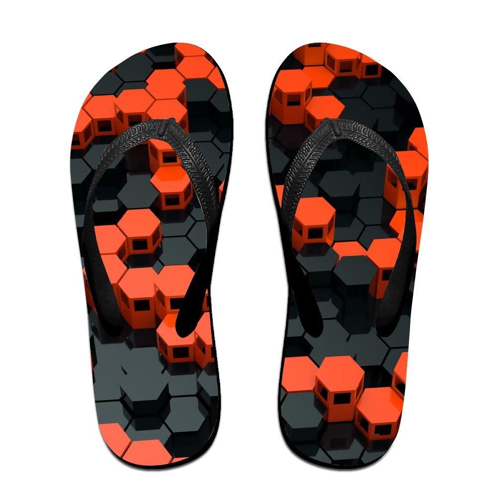 Couple Flip Flops Orange Black Circle Print Chic Sandals Slipper Rubber Non-Slip Beach Thong Slippers