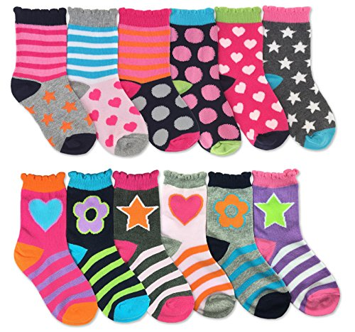 Jefferies Socks Girls Dots/Hearts/Stars/Flower Fashion Variety Socks 12 Pair Pack
