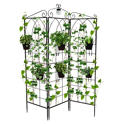 BEFFEE 3 Panel Garden Trellis for Climbing Plants Folding Trellis Outdoor Side Table Plant Stand Metal Flowers Patio Metal Wire Lattices Grid Panels (with LED Solar Light)
