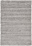 Unique Loom Solo Solid Shag Collection Modern Plush Cloud Gray Area Rug (4' x 6')