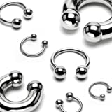 Lobal Domination 1 Piece Surgical Steel Circular Horseshoe Barbell with Ball Lip Septum - 18G Thru 00g Available