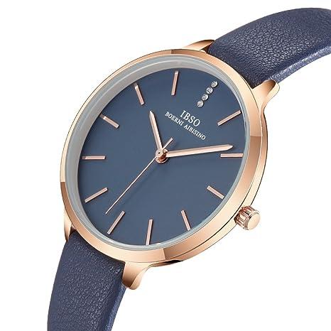 Amazon.com: Women Three-Hand Leather Strap Round Watch Fashion Simple Ultra-Thin Quartz Analog Wristwatch (6603 Blue): Watches