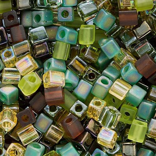 Beadaholique Miyuki 10gm Glass Cube Bead Mix, 4mm, Earthtones'