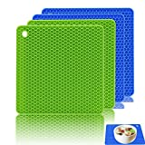 Silicone Pot Holders Set of 4, Ankway Trivet Mats Heat Resistant to 450 °F, Non-slip, Insulation, Durable, Flexible Hot Pads (7