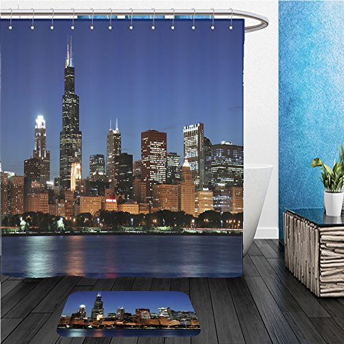 Beshowereb Bath Suit: ShowerCurtian & Doormat Chicago skyline at night from - Macy Chicago