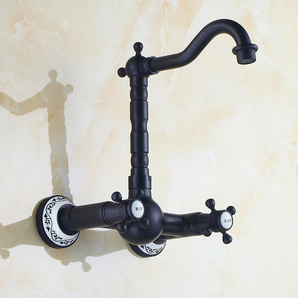 froid continental pastoral du vent Lonfenner Robinet Robinet mural de bronze cuivre cuisine robinet noir vintage wash bassin robinet chaud