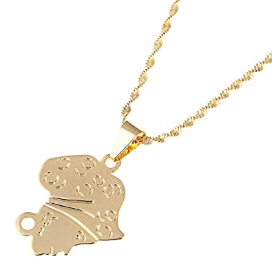 Shape Of Africa Map.Amazon Com Africa Map Pendant Necklace Gold Color Girl Image Shape