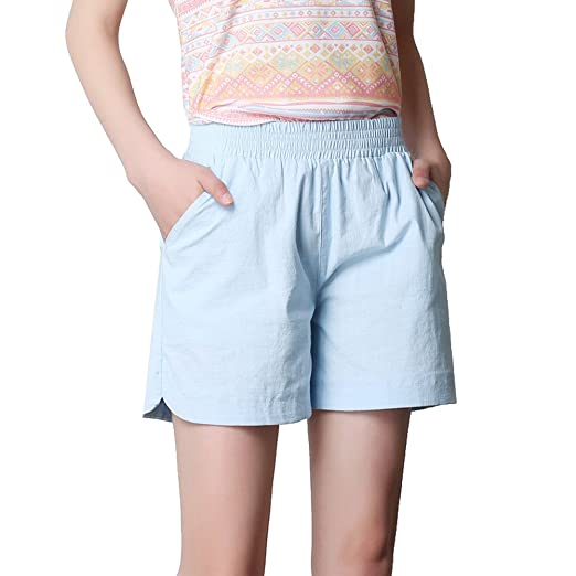 82d10e2b1835d Gihuo Women s Classic Short Cotton Linen Solid Color Beach Hot Pants (Plus  Size) (