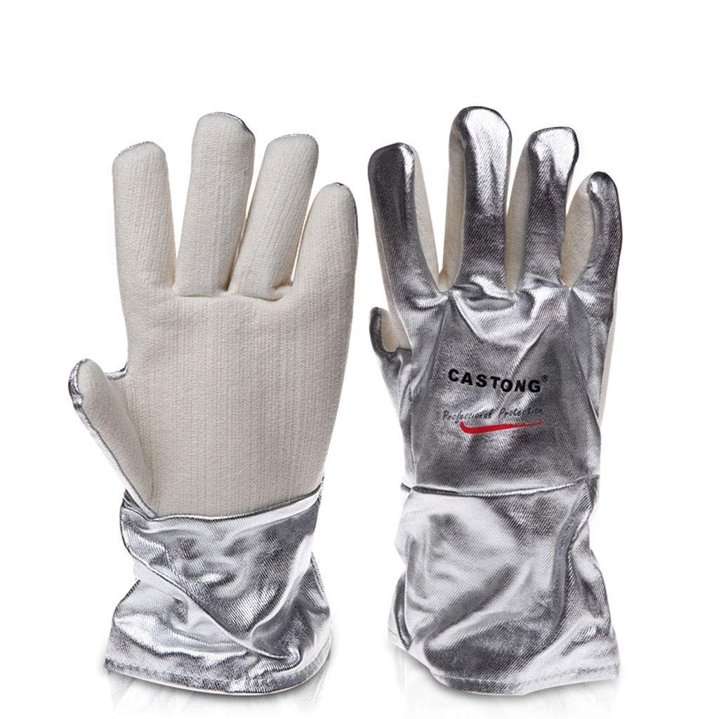 LQQGXL Protective Gloves 300-400 Degree Kitchen Oven Baking Anti-scalding Insulation high Temperature Long Thick Gloves (Size : 34cm)