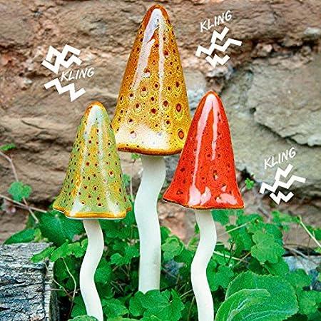 Set de figuras decorativas para jardín, diseño de setas, cerámica, 3 unidades: Amazon.es: Jardín