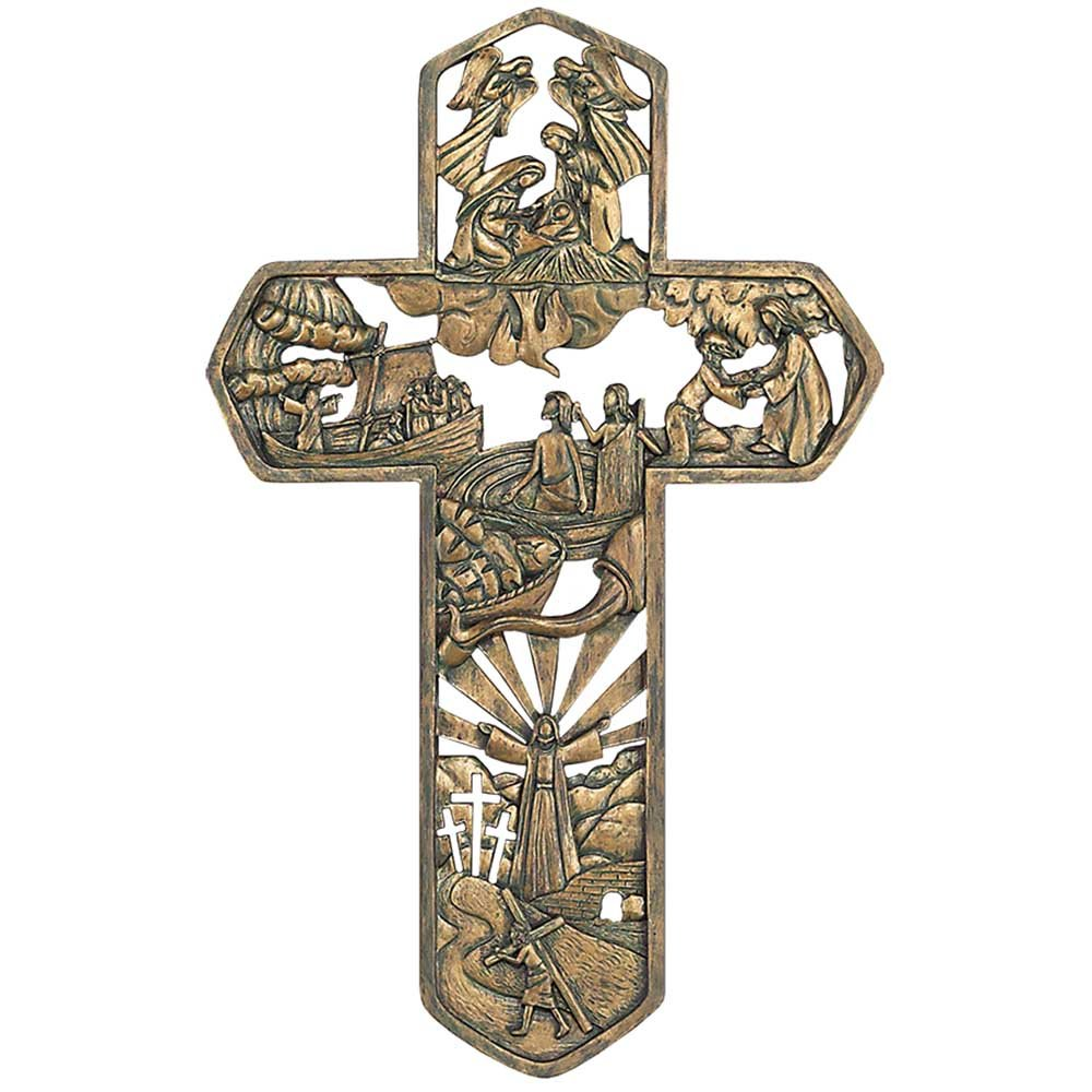 Life of Christ Stories Carved Woodgrain 11 Inch Resin Hanging Wall Cross