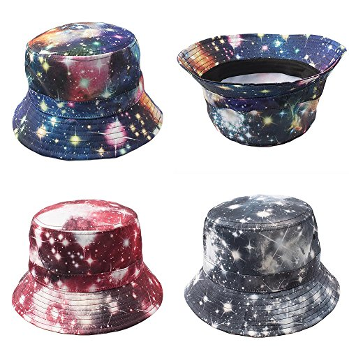 The Clique Bucket Hat One Size Unisex Multi Hawaiian Flower/Galaxy/