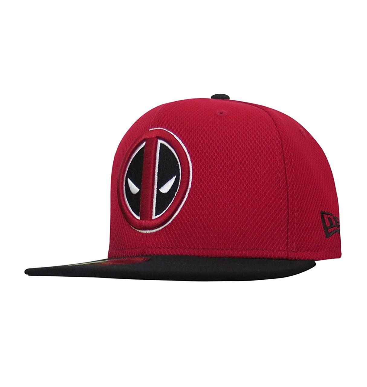 New Era Deadpool Symbol Red   Black 59Fifty Fitted Hat at Amazon Men s  Clothing store  02b00c04cf3
